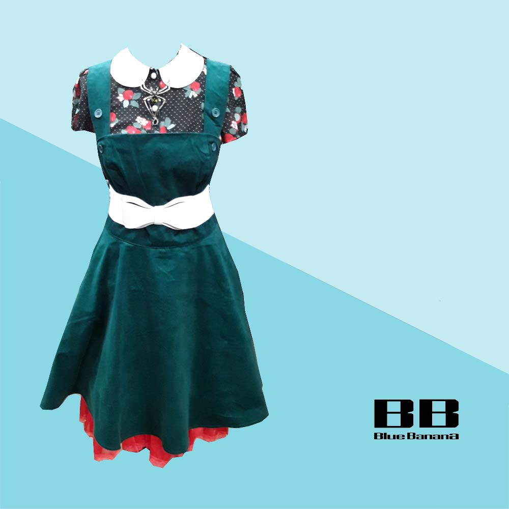 Hell Bunny Dakota Pinafore Dress & Hell Bunny Apple Blossom Blouse