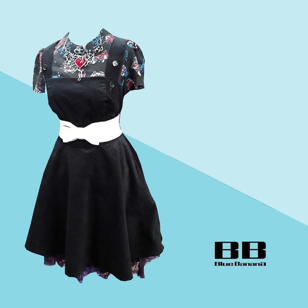 Hell Bunny Dakota Pinafore Dress & Hell Bunny Poseidon Blouse